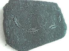 """Vintage Black 30s Beaded Purse Czech Hand hold Zipper Vgc 3.5 x 6"""""""