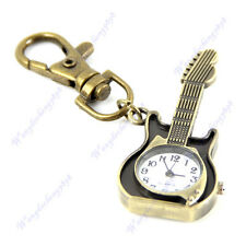 Unique Retro Bronze Guitar Design Pocket Quartz Pendant Key Chain Keyring Watch