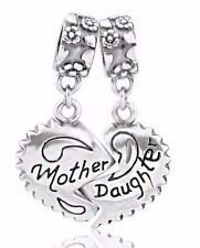 Mother And Daughter Mum Heart S925 Sterling Silver Charm Fits European Bracelet