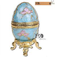 Metal Trinket Box Blue Lucky Egg Crystal Ornament Easter Egg Figurine Xmas Gift