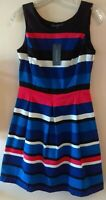 NWT Tommy Hilfiger Sleeveless A-Line Striped Red/white/blue/black dress Size 0