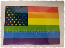 RAINBOW American Flag Tin Sign 8 1/4 x 11 5/8 (SM320) Pride