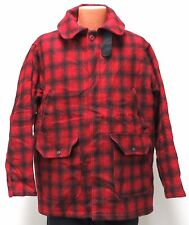 vtg Woolrich RED BLACK WOOL FIELD COAT LARGE 80s usa made Style 504 hunt lined L