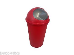 RED  BULLET BIN DUSTBIN RUBBISH KITCHEN HOME PLASTIC TONTARELLI - LIFT UP FLAP