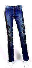 ROBERTO CAVALLI Blue Medium Wash Velvet & Silk Embroidered Denim Jeans S