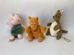 Vintage Lot of 3 Disney Gund Classic Pooh Kanga, Piglet, & Tigger Plush Beanie