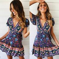 Women Short Sleeve Wrap Boho Floral Mini Dress Ladies Summer Sundress Holiday US