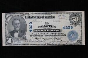 1902 $50.00 Seattle National Bank Plain Black Charter 4229