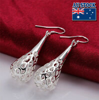 Wholesale 925 Sterling Silver Filled Solid Filigree Teardrop Drop Earrings