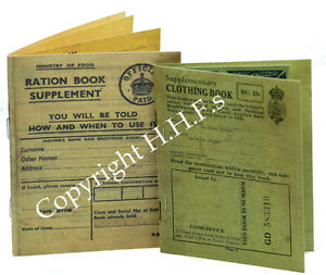 1940's-WW2-Blitz REPLICA Ration Book & Clothing Book Great for wartime Project