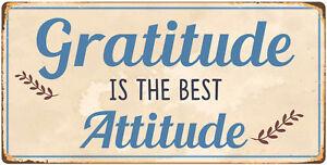 "883HS Gratitude Is The Best Attitude 5""x10"" Aluminum Hanging Novelty Sign"