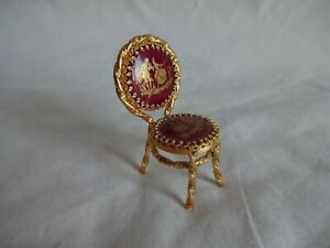 "LIMOGES Porcelain & Gilt Wire Miniature Chair 2.5"" Tall"