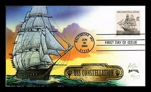DR JIM STAMPS US COVER KENDAL BEVIL HAND PAINTED USS CONSTELLATION SHIP FDC