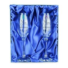 MR AND MRS Personalised Glass Champagne Flute Gift Set - Wedding / Anniversary