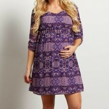 NWT PinkBlush Purple Paisley Maternity Dress