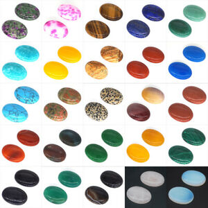 Wholesale 30x40mm Gemstone Oval Flat Back Cabochon Beads Jewellery Making 1Pcs