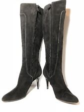 Elie Tahari Women Knee High Heeled Boots Black Size 39.5 US 9 Leather Suede