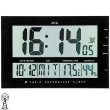 NEU große AMS Wanduhr Funkuhr digital Datum Thermometer Büro Praxis schwarz