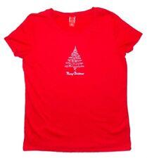 Womens Short Sleeve Silver Christmas Tree Shirt XL