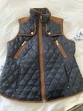 vince equestrian vest nwot size medium navy blue leather trim