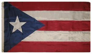 5x8 Embroidered Sewn Puerto Rico 600D Nylon Flag 5'x8' Grommets Heavy Duty