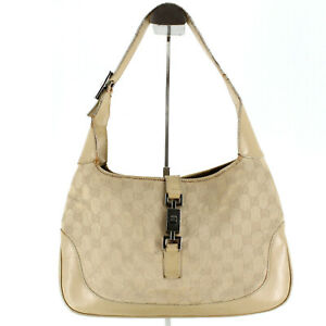 Gucci Vintage GG Supreme Guccissima Jackie 1961 Hobo Canvas Leather Shoulder Bag