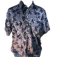 St. John's Bay Men's Tropical Shirt Large Blue Hawaiian Floral 100% Cotton