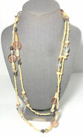 """Vintage Long 30"""" White Carved Bead Strand Necklace W/ Clear Pink & Silver Accent"""