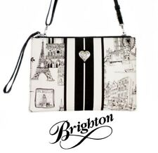 "Brighton ""Travel Sketchbook"" Black & White Convertible Cross Body Pouch Purse"