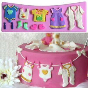 Cake Mould Baby Shower Fondant Topper Baby Clothes Mold Silicone Candy Chocolate