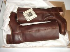 US$410 FRYE Womens BOOTS CAMPUS 14L Blazer Brown Leather Size 8.5 M Mid Calf NEW