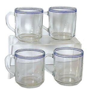 ARCOROC France Vintage 4pc Glass Mug Set w Blue Stripe Detail at Rim - Stackable