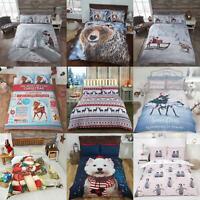 Christmas Duvet Covers Winter Festive Santa Bedding Quilt Cover Sets
