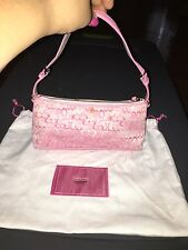 Coach Signature Lurex Demi Baguette Pink/Silver Top Handle Evening Bag 8947 B7