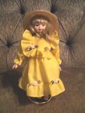 RUSS DOLLS TO REMEMBER  PORCELAIN COLLECTIBLE DOLLS Yellow Dress With Hat