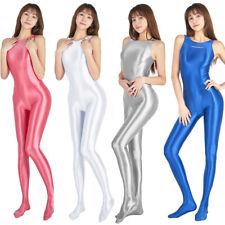 Damen Overalls Gamaschen Gymnastikanzug Romper Turnanzug Bodysuit Shiny Jumpsuit