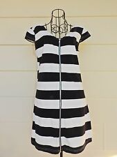 Black & White Striped Tank Top, Size M, Zipper Front - You Control the Cleavage