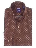 Mens Slim Fit Chocolate Brown Circle Pattern Cutaway Collar Cotton Dress Shirt