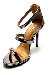 Metallic Open Toe Ankle Triple Strappy High Heels Stiletto Kardashian Sexy Shoes