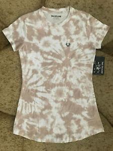 True Religion Logo Tie Dye Shirt Dress Womens Size Medium Old Pink NWT $119.00