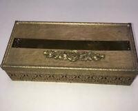 Vintage Hollywood Regency Gold Filigree Tissue Box Holder Cover Rose Design