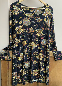 Joe Browns Long Sleeved Black Floral Print Tunic size 16uk New without tags