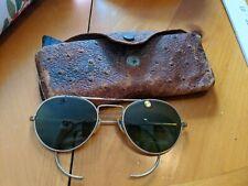 Vintage Military Aviator Sunglasses Ww2 Era Gold Frame Green Lenses w/Case
