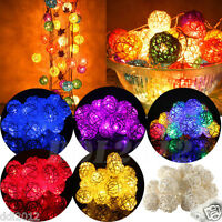 20 LED Rattan Ball String Lights Fairy Lamp Wedding Garden Party Xmas Home Deco