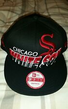 NEW ERA 9FIFTY BLACK & RED CHICAGO WHITESOX SNAPBACK CAP HAT SIZE S-M