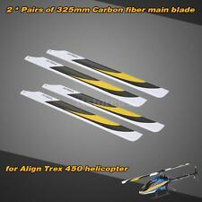 2 Pairs Carbon Fiber 325mm Main Blades For Align Trex Electric 450 RC Quadcopter