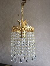 Pair Of Vintage Crystal Chandeliers Sparkle Rainbow Colours