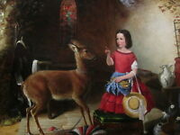 Oil painting The Reprimand at Brooklyn Museum nice little girl deer Hand painted
