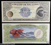 CHATHAM ISLANDS NEW ZEALAND POLYMER 2 Dollars 1999 UNC