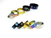 Cross Lord's prayer stainless steel band ring multiple colours and sizes